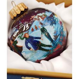 Коллекционный расписной ёлочный шар «Русская зима», Художник О.Юсковва, Палех