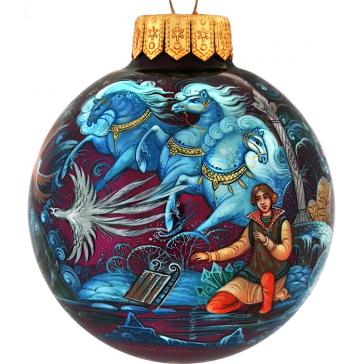 Коллекционное елочное украшение, расписной шар «Снежная королева», Худ. Брезгина, Палех