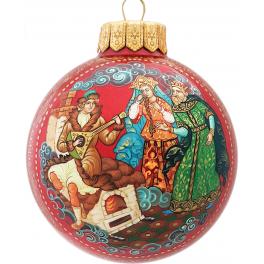 Авторский расписной ёлочный шар «По щучьему велению», Худ. Курчаткина, Палех