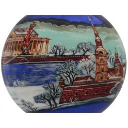 Коллекционный ёлочный шар «Северная столица», Художник Жуков, Палех