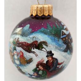 Коллекционный ёлочный шар «Рождественские гулянья», Художник Юскова, Палех