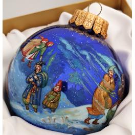 Коллекционный расписной ёлочный шар «Вечера на хуторе близ Диканьки. Ночь перед Рождеством», худ. Латышева, Палех