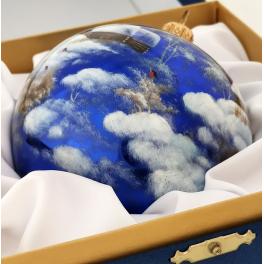 Коллекционный расписной ёлочный шар «Зимний пейзаж», Художник Смирнов, Палех