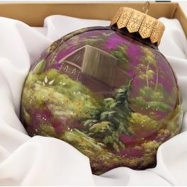 Коллекционный расписной ёлочный шар «По грибы», Художник Сомов, Палех