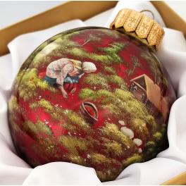 Коллекционный расписной ёлочный шар «По ягоды», Художник Петров, Палех