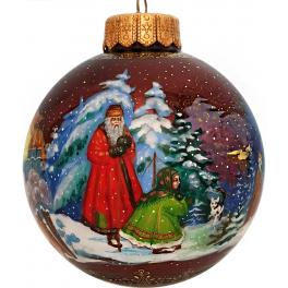 Расписной елочный шарик «Серебряное копытце», худ. М.Новикова, Палех