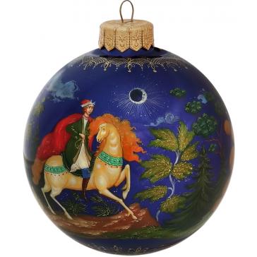 Расписной елочный шарик «Богатыри и царевна», худ. М.Новикова, Палех