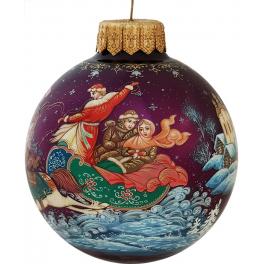Расписной стеклянный шар «Тройка», Художник И.Романова, Палех