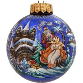 Коллекционный расписной ёлочный шар «Морозко», Художник Бормотова, Палех.