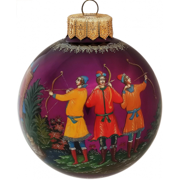 Расписной елочный шарик «Царевна Лягушка», худ.Н.Комкова, Палех
