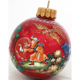 Коллекционный расписной ёлочный шар «Золотой петушок», Худ. Р.Шемякина, Палех