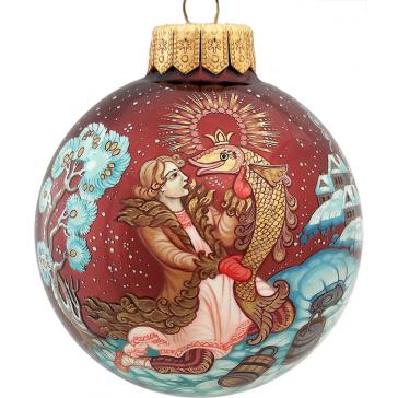 Коллекционный расписной ёлочный шар «По щучьему велению», Худ. Лебедева, Палех