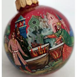 Коллекционный ёлочный шар «Конёк-Горбунок», Художник Жуковская, Палех