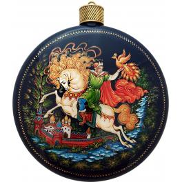 Коллекционное ёлочное украшение шар-диск «Жар-птица», Худ. Жуковская, с.Палех.
