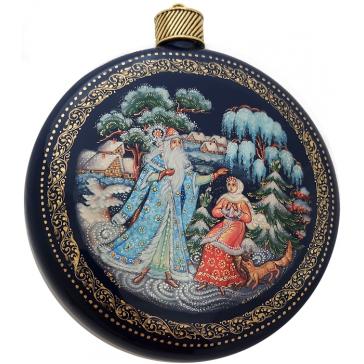 Коллекционное ёлочное украшение шар-диск «Морозко», Худ. Ю.Коновалова, с.Палех.