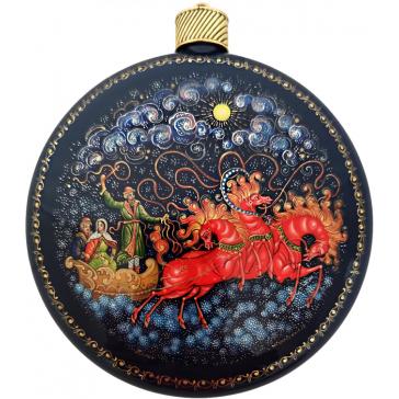 Коллекционный новогодний сувенир, ёлочное украшение шар-диск «Тройка», Худ. Жуковская, с.Палех.