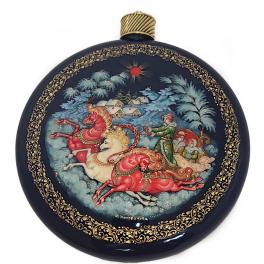 Коллекционный новогодний сувенир, ёлочное украшение шар-диск «Тройка», Худ. Коновалова, с.Палех.