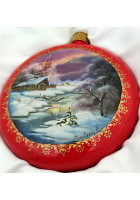 Елочный шар-диск «Зимний пейзаж»,  Худ.Соловьева