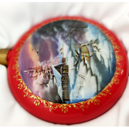 Коллекционный новогодний сувенир. Расписной шар-диск «Зимний пейзаж». Федоскино,  Худ. Соловьева.