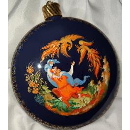 Коллекционное ёлочное украшение шар-диск «Жар-птица», Худ.Хомякова, с.Палех.