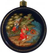 Елочный шар-диск «Сказка о рыбаке и рыбке», Худ. Ю.Коновалова, с.Палех.