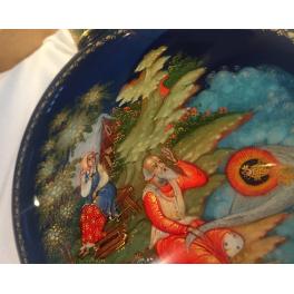 Коллекционное ёлочное украшение шар-диск «Сказка о рыбаке и рыбке», Худ. Ю.Коновалова, с.Палех.