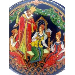 Коллекционное ёлочное украшение шар-диск «Сказка о царе Салтане», Худ. Денисенко, с.Палех.
