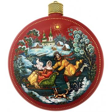 Коллекционное ёлочное украшение шар-диск «Катание на льду», Худ.Жуковская, с.Палех.