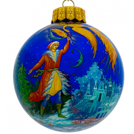 Коллекционный расписной ёлочный шар «Иван-царевич и Жар-птица», Худ. Сурикова, Палех