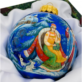 Коллекционный ёлочный шар «Морозко», Художник Н.Юдина, Палех