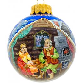 Коллекционное ёлочное украшение, расписной шар «Серебряное копытце», Худ.Юдина, Палех