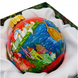 Коллекционный расписной ёлочный шар «Снегурочка», Художник Оксана Юскова, Палех