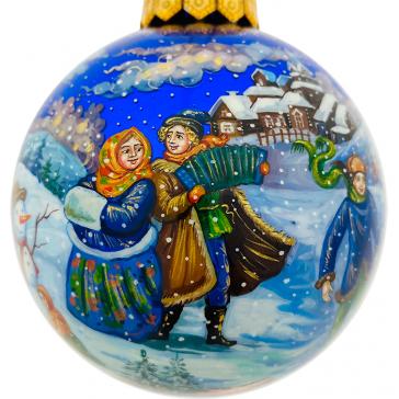 Коллекционный расписной ёлочный шар «Русская зима», Художник Жуковская, Палех
