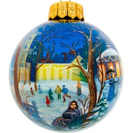 Коллекционный ёлочный шар «Волшебный вечер на катке», Художник Печкина, Палех