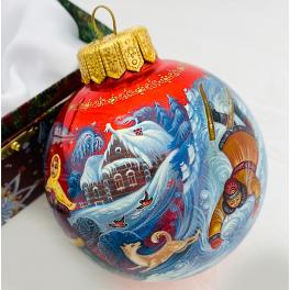 Коллекционный ёлочный шар «Русские забавы», Художник Н.Юдина, Палех