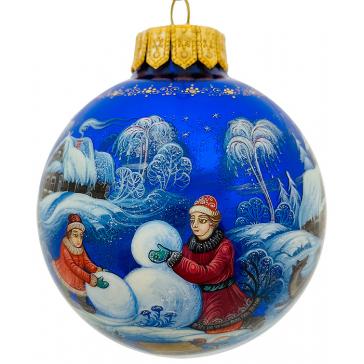 Расписной ёлочный шар «Зимние забавы», Художник Н.Юдина, Палех