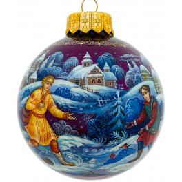 Коллекционный ёлочный шар «Зимние забавы», Художник Н.Юдина, Палех