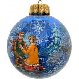Коллекционное ёлочное украшение, расписной шар «Снежная королева», Худ. Н.Юдина, Палех