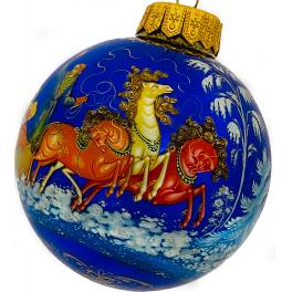 Коллекционный расписной ёлочный шар «Русские тройки», Худ. Сурикова, Палех