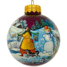 Коллекционный расписной ёлочный шар «Первый снег», Худ. Ю.Жуковская, Палех