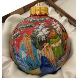 Коллекционный расписной ёлочный шар «Двенадцать месяцев», Худ. Н.Варзина, Палех