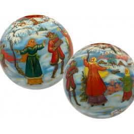 Коллекционный ёлочный шар с художественной росписью «Весёлая зима», Художник Н.Варзина, Палех