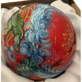 Коллекционный ёлочный шар «Ах ты, зимушка-зима!», Художник М.Ершова, Палех