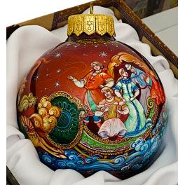 Коллекционное елочное украшение — расписной шар «Мчится тройка удалая», Худ. Брезгина, Палех