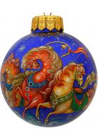Ёлочный шар «Мчится тройка удалая», худ. Брезгина