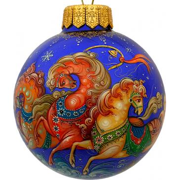 Расписной ёлочный шар «Мчится тройка удалая», Худ. Брезгина, Палех