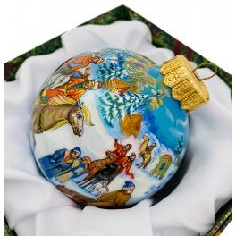Коллекционный ёлочный шар «Охота», Художник Е.Быкова, Палех