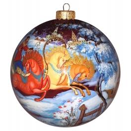 Коллекционный ёлочный шар «Зимние гулянья», Художник Н.Варзина, Палех
