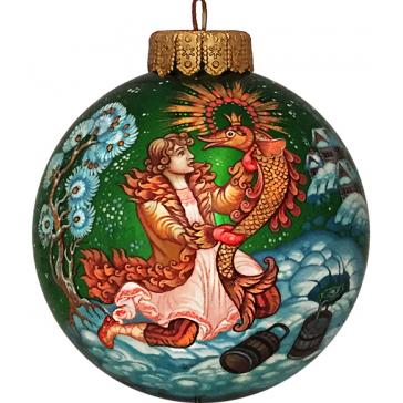 Коллекционный расписной ёлочный шар «По щучьему велению», Худ. Курчаткина, Палех