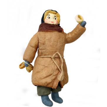 Ватная ёлочная игрушка «Мальчик с баранками», 12 см